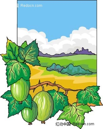 西瓜农场手绘背景画