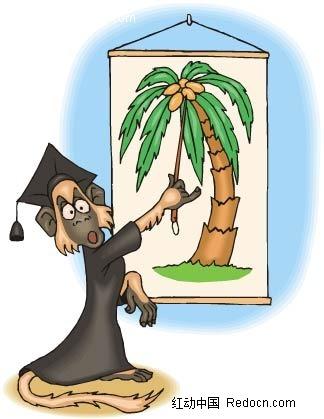 猴子博士椰树手绘背景画