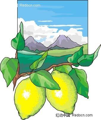 柠檬大自然手绘背景画