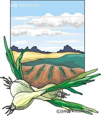 葱头田地手绘背景画