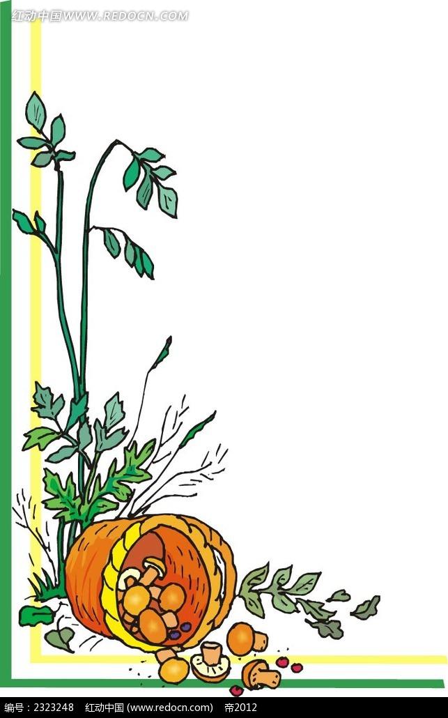 蘑菇蘑菇筐手绘背景画