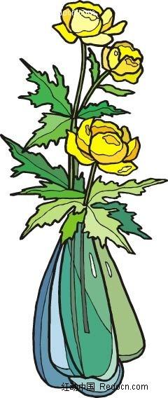 黄色小花手绘线描画
