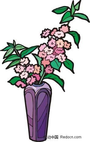 粉色桃花手绘线描画
