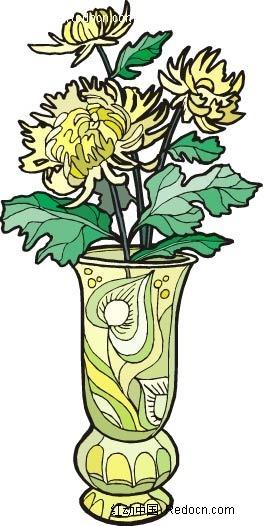 向日葵手绘线描盆景画