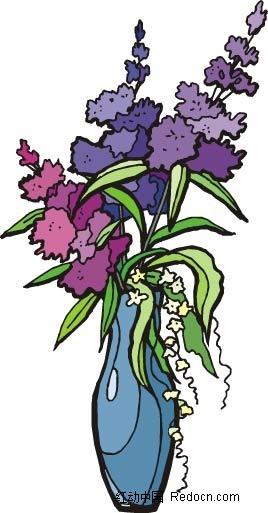 紫色小花手绘线描画
