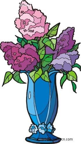 紫色花手绘线描画ai素材免费下载_红动网