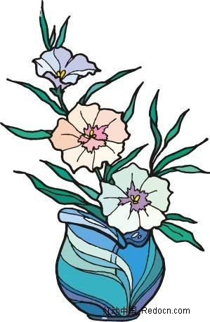 小花手绘盆景画