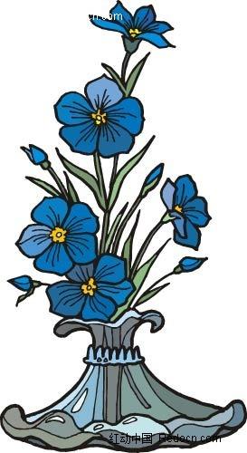 蓝色花手绘线描画