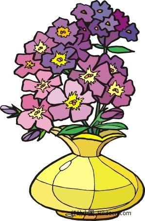 紫色小花手绘盆景画矢量图ai免费下载_花纹花边素材
