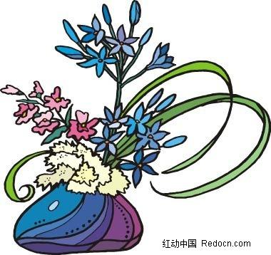 蓝色小花手绘线描画