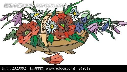 菊花风铃花手绘线描画