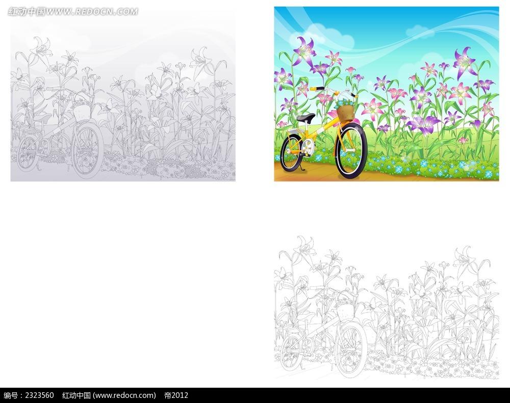 大自然小花自行车手绘线描背景画