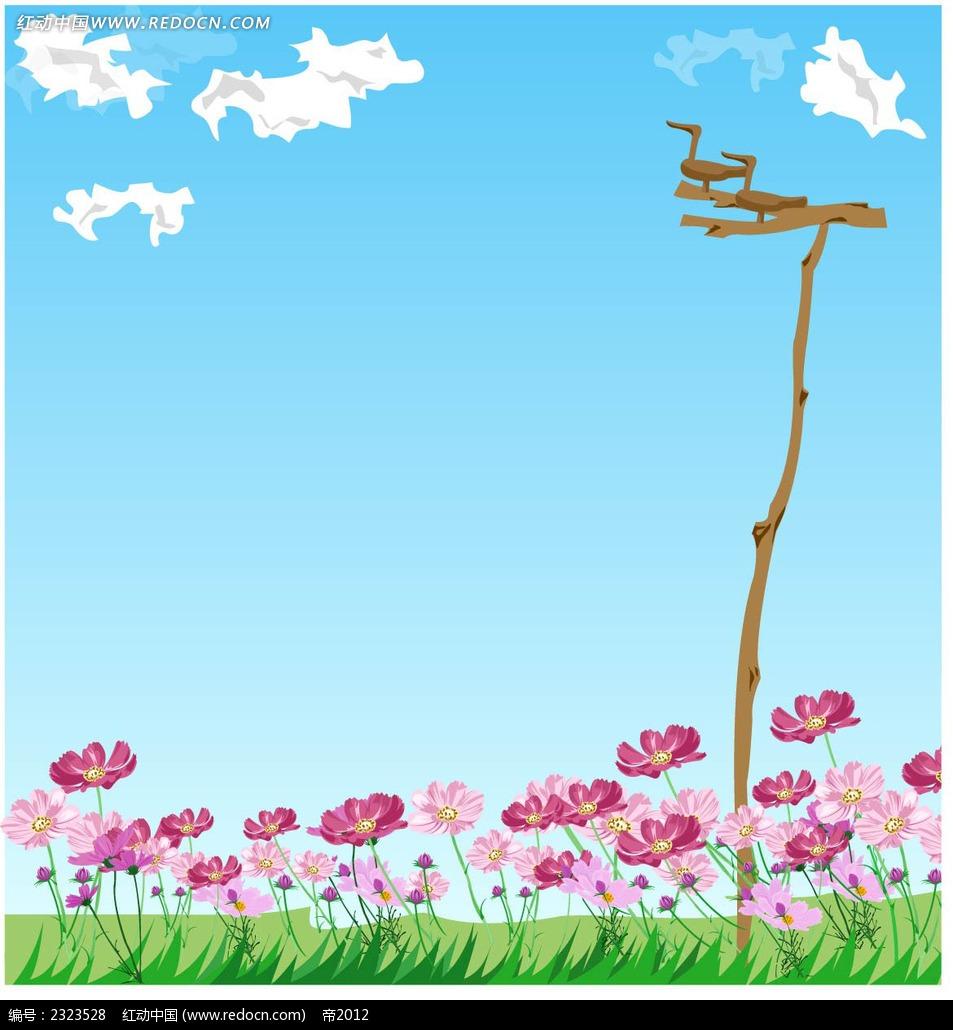 粉色小花蓝天白云木头小鸟手绘背景画