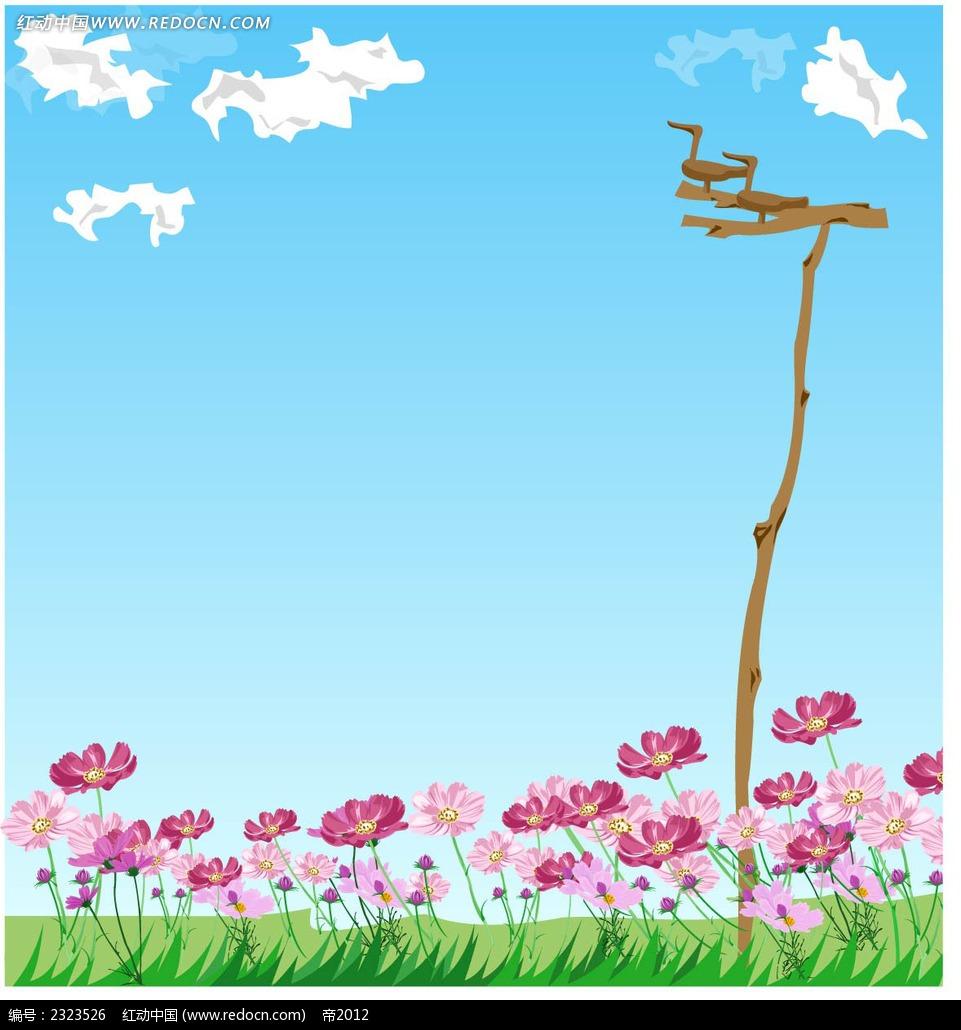 粉色小花蓝天白云木头小鸟手绘风景画