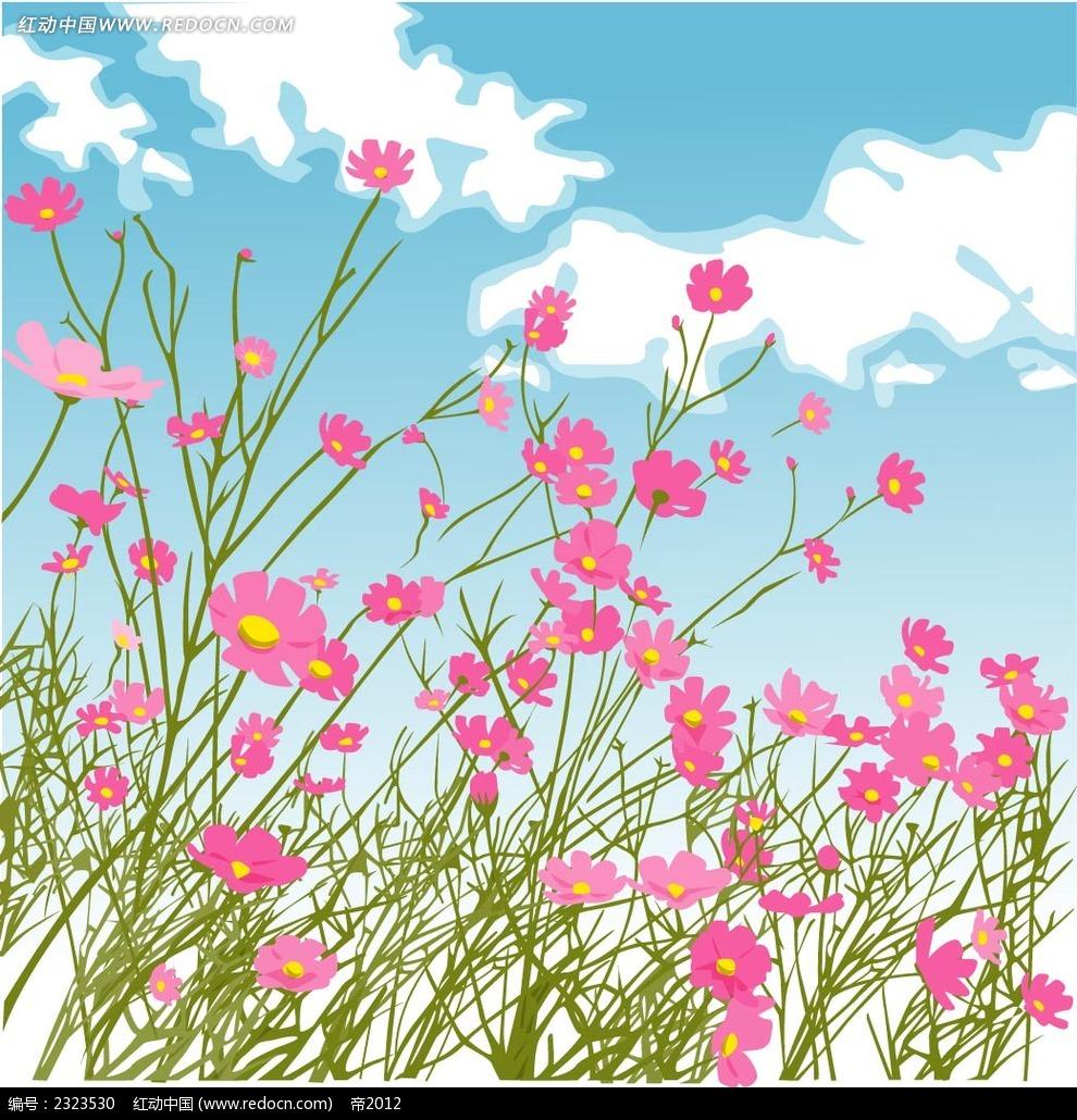 粉色小花蓝天白云手绘背景画