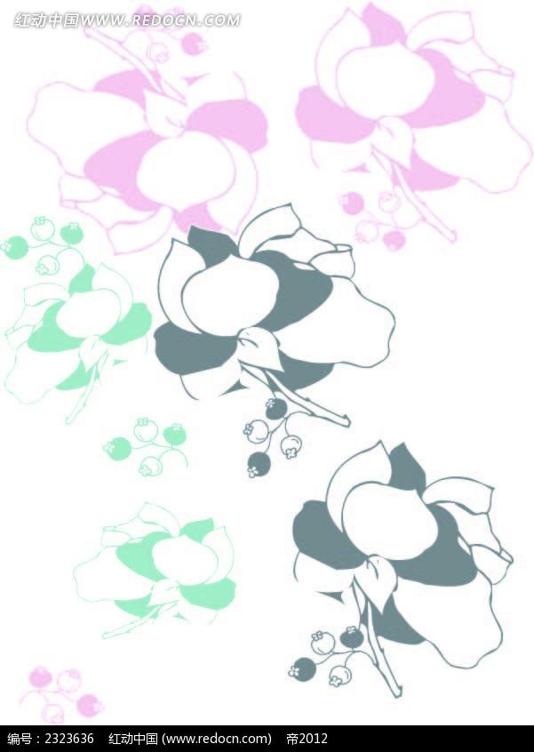 手绘线描花纹图形