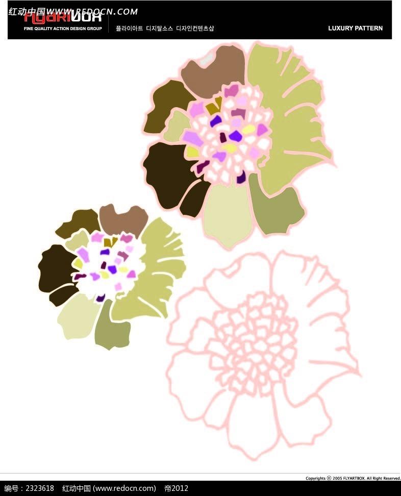 手绘线描花纹图案