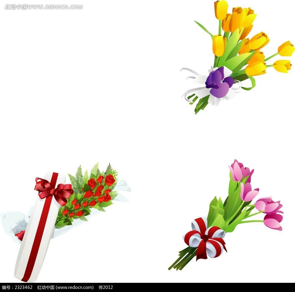 玫瑰花百合花手绘图形图片