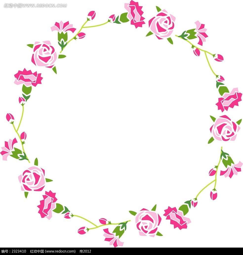 康乃馨玫瑰花边框图形