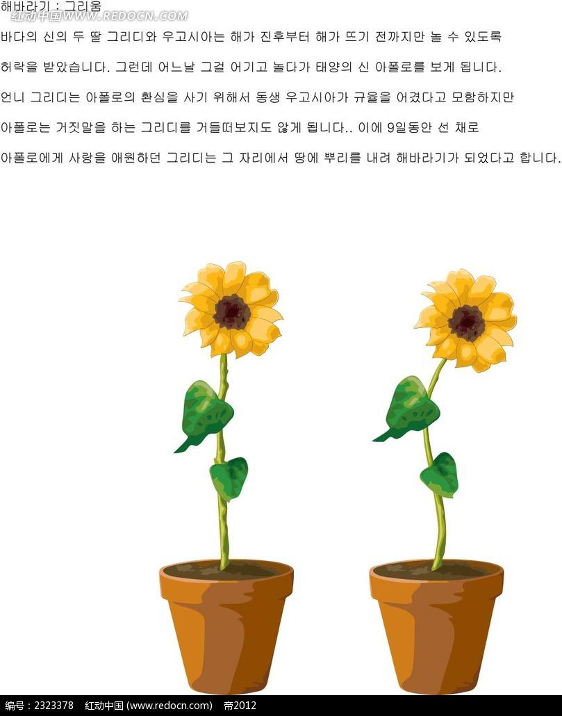 花瓶向日葵手绘画矢量图_花纹花边