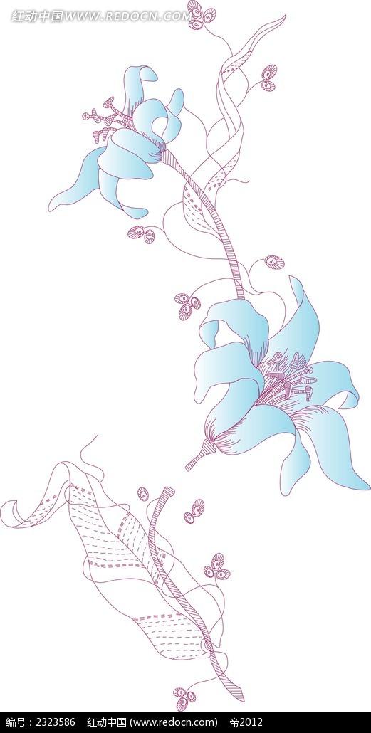 牵牛花手绘线描图形