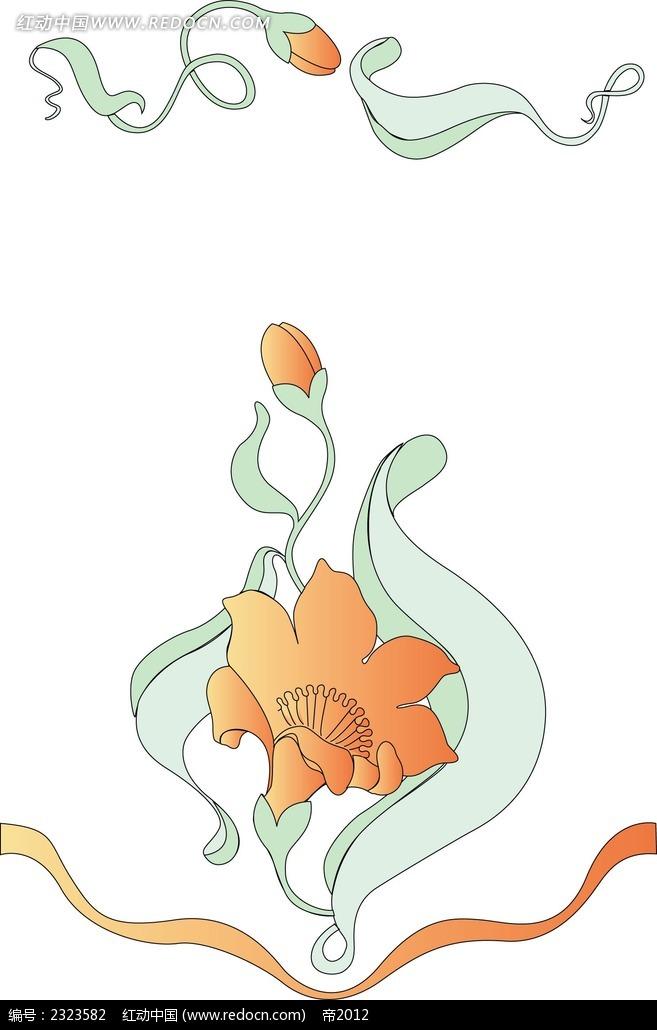 鲜花花蕾手绘线描画