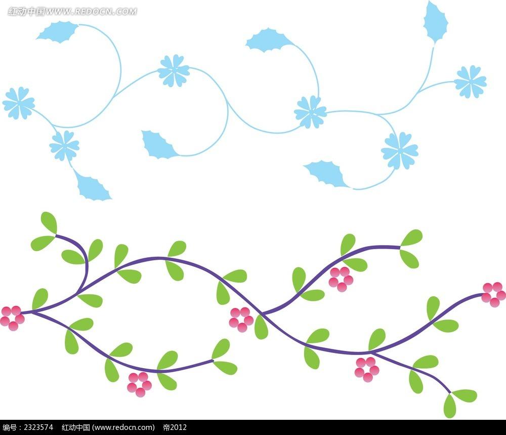 藤条小花手绘边框画图片