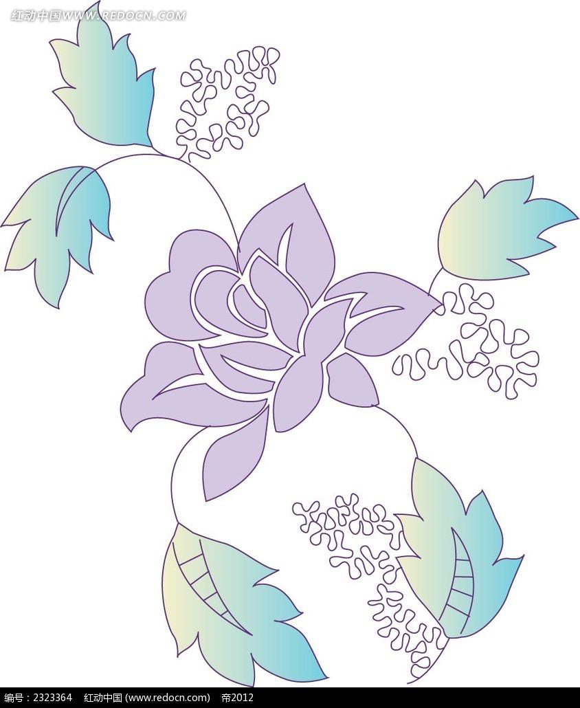 手绘线描小花图形