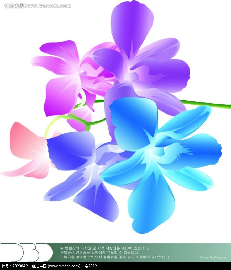手绘蝴蝶花