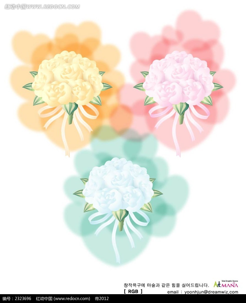 唯美鲜花手绘图形图案矢量图_花纹花边