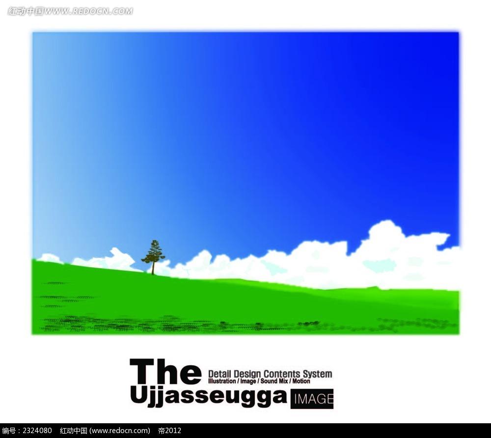 蓝天白云绿草地手绘背景画