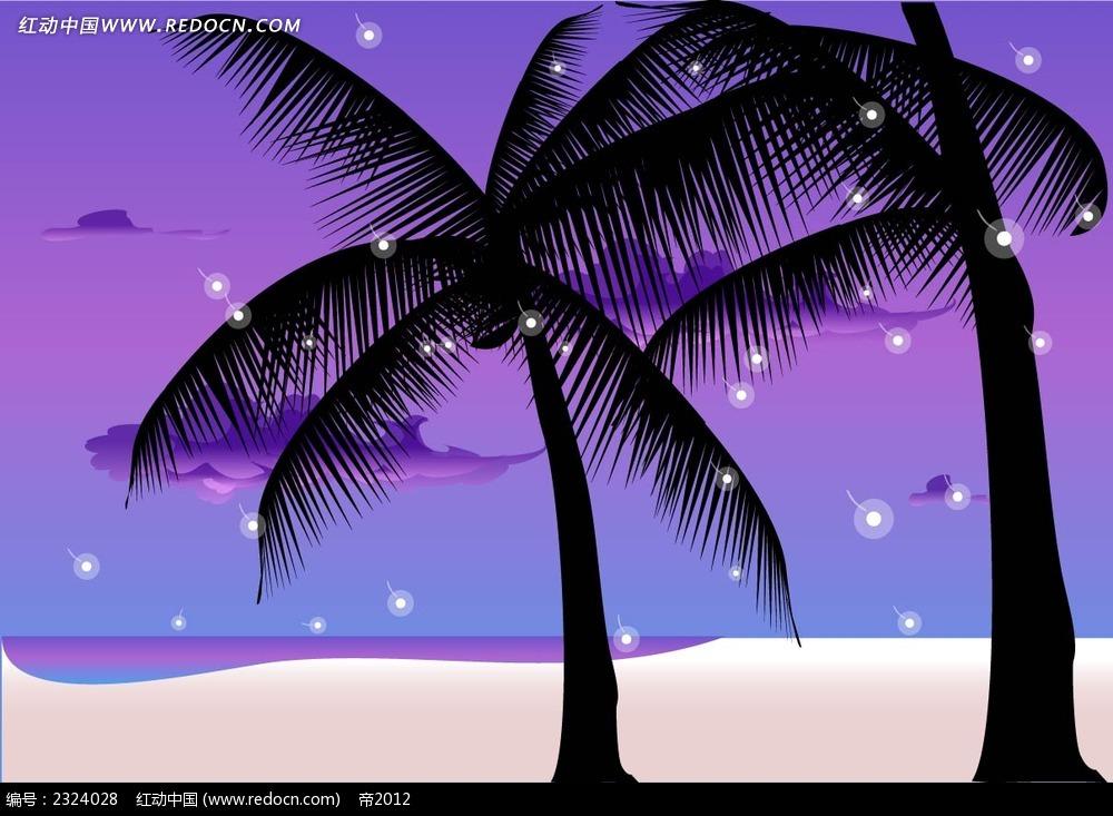 沙滩夜景椰树手绘背景画