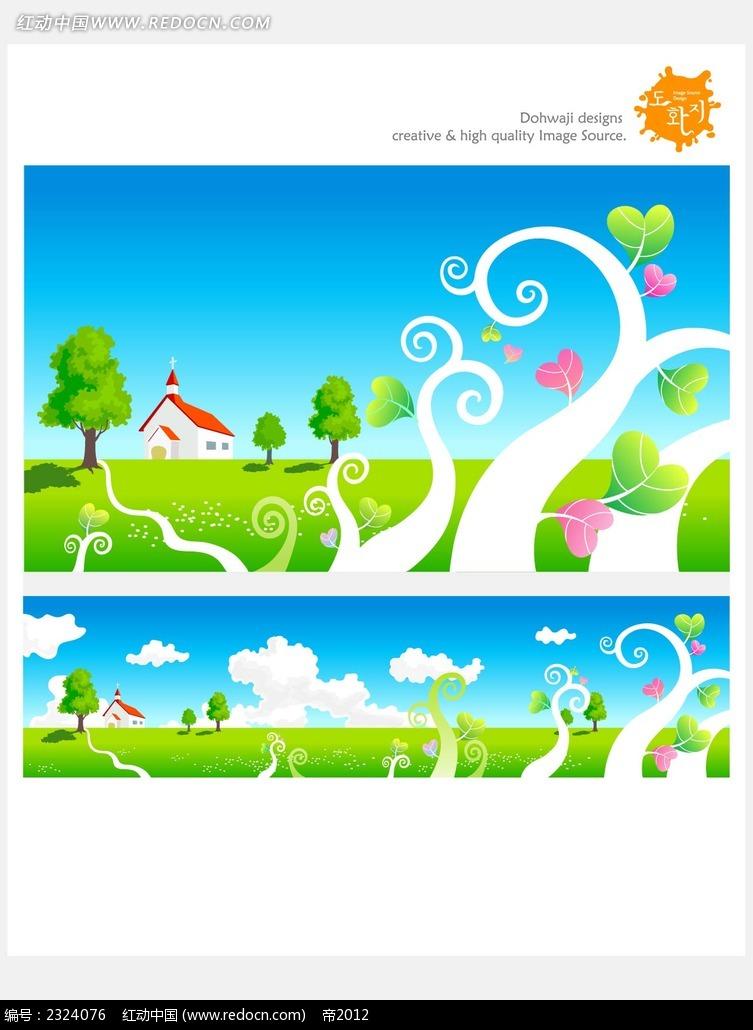 花纹树乡村手绘背景画