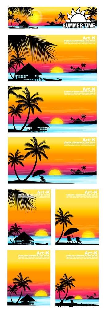 沙滩海景椰树手绘背景画