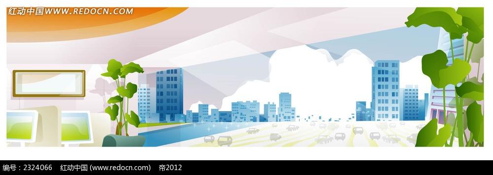 室内城市建筑规划手绘背景画