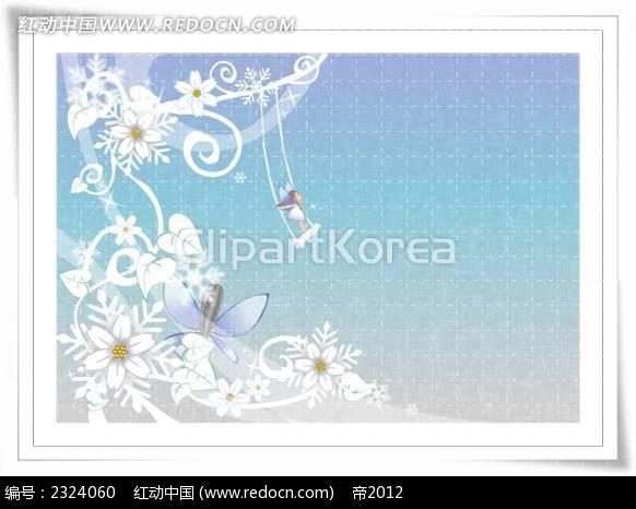 花纹边框虚线背景手绘背景画