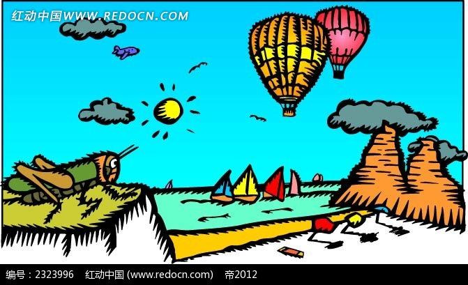 乡村蟋蟀烟囱热气球手绘背景画