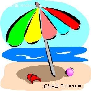 大海沙滩遮阳伞沙滩球手绘画
