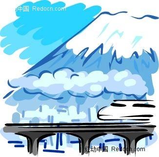 蓝天白云高铁手绘背景画