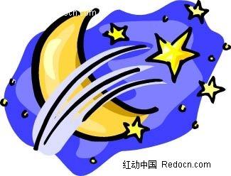 月亮星星手绘背景画