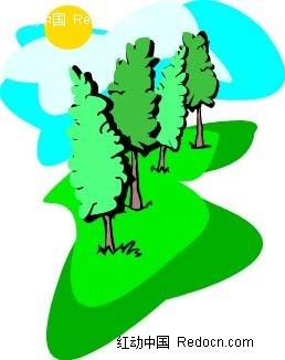乡村小树太阳手绘背景画