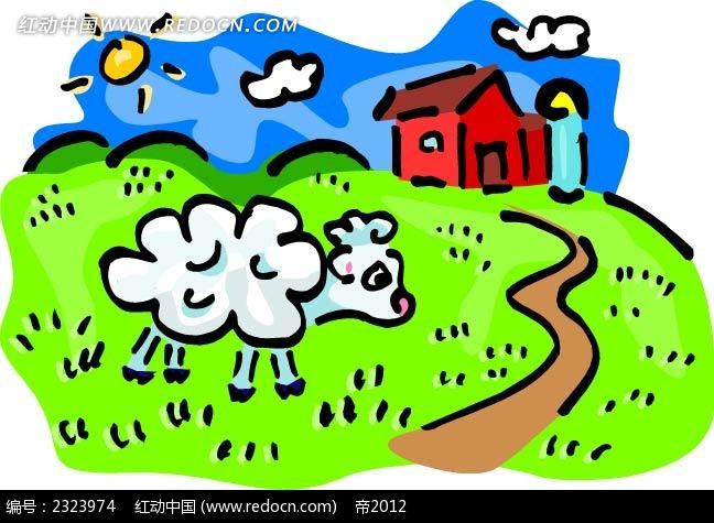 乡村绵羊场手绘背景画
