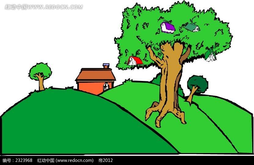 乡村书本大树手绘画