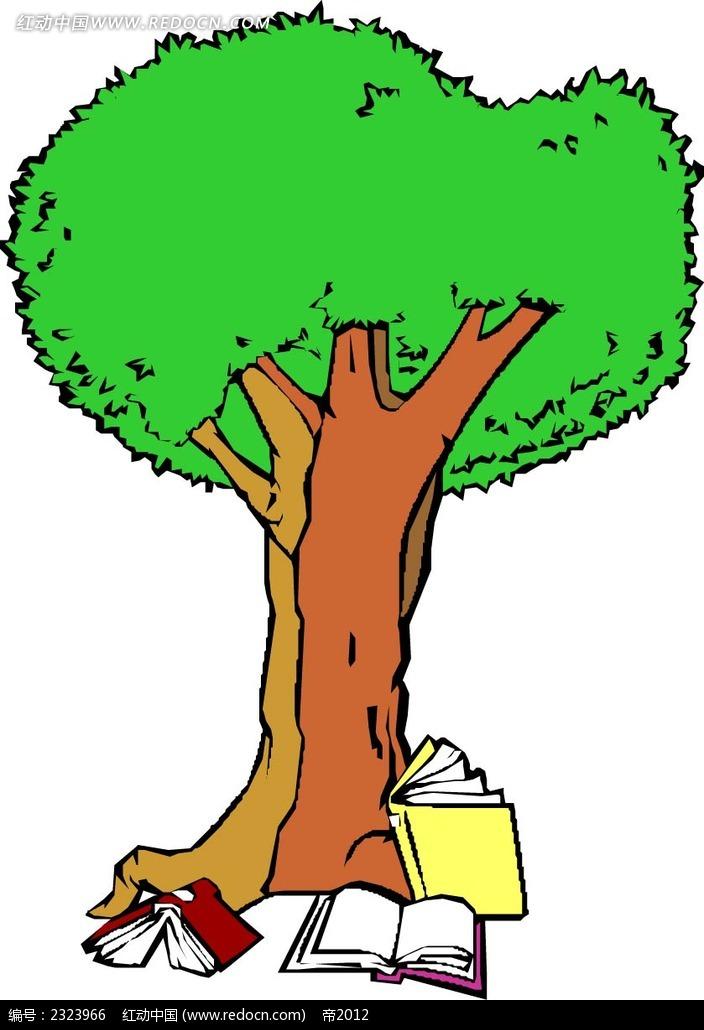 书本大树手绘线描画