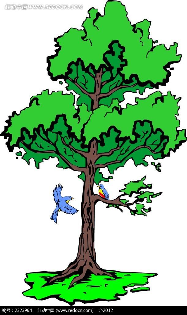 大树喜鹊手绘线描画