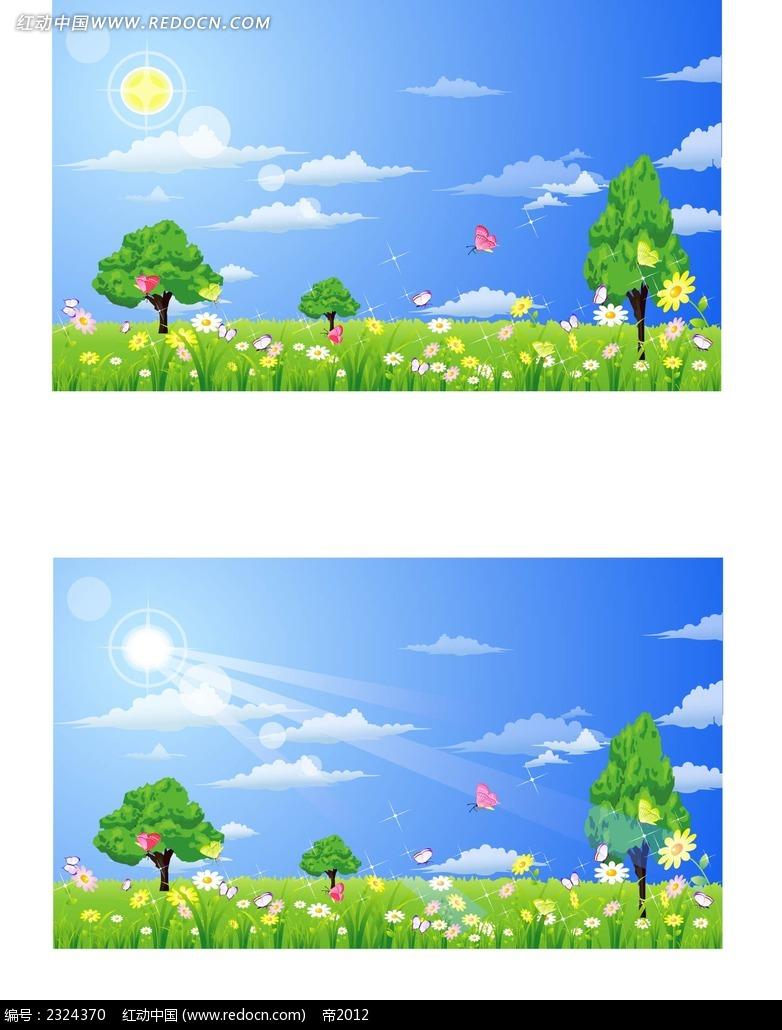 大自然美景手绘背景画