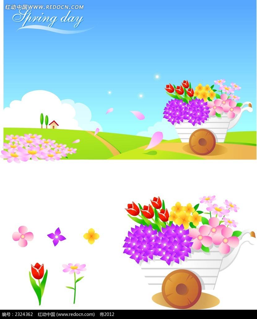 乡村美景鲜花手绘背景画