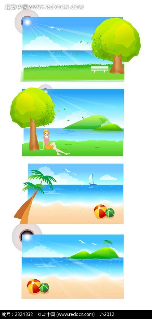 免费素材 矢量素材 花纹边框 底纹背景 夏季沙滩大海美女手绘背景画