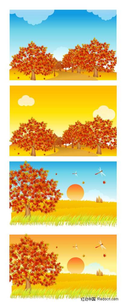 免费素材 矢量素材 花纹边框 底纹背景 秋季乡村麦田枫树手绘背景画