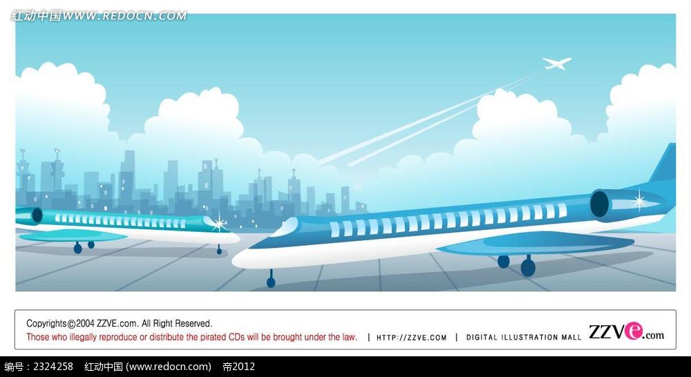 城市机场飞机手绘背景画